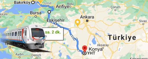 Bakırköy Konya Yht güzergahı