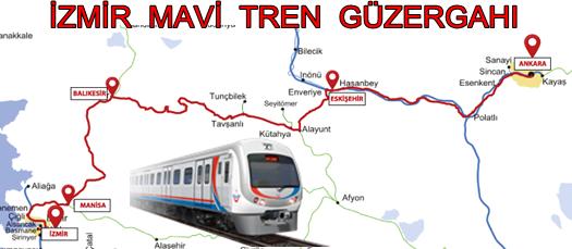 İzmir Mavi Tren Güzergahı